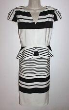 PER UNA Black White Striped Formal Tea Cocktail Pencil Dress Size 20