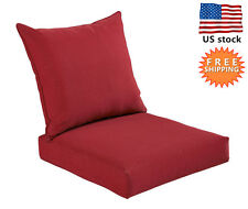 Bossima Outdoor/Indoor Cushion Pillow Set Patio Garden Deep Seat Chair Rust Red