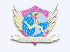 Gymnastics World's Greatest Sport Lapel Pin - Great New Cut-Out Design!