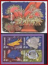 ST.VINCENT 1995 FISH & MARINE LIFE x2 S/s SC#2179-80 MNH E13 ANIMALS