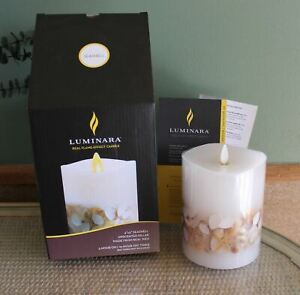 "NEW 2019 LUMINARA FLAMELESS CANDLE SEASHELL 4 X 5"" W TIMER"