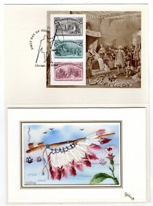 #2624-29 Columbian Souvenir Sheets 1992 FDC Embroidered Kitty Gallup Cards Set/5