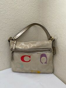 Coach Beige Jacquard Multicolor C Logo Patent Leather Trim Hobo Handbag 22469
