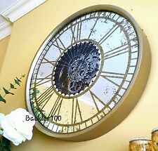Round MIRRORED WALL CLOCK with Moving Mechanism Aged Champagne Finish 60cm
