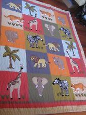 """Safari Animals Twin Quilt 100% Cotton The Company Store 68"""" x 80"""""""