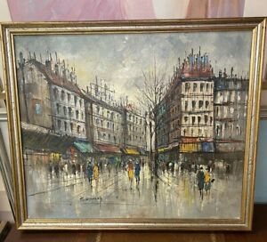 H. Duchamp Oil Painting on Canvas of Cityscape