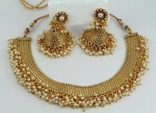 New Gold Plated Indian Fashion Jewelry wedding choker Necklace Earring Jumka