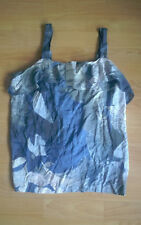 Brand New Blue & White Viscose Patterned Ruffle Vest/Cami Top from Next Size 16