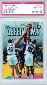 TIM DUNCAN 1997 Finest REFRACTOR (Defenders) #306 Spurs (HOF) Rookie GEM PSA 10