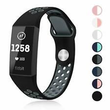 SWEES Fitbit Charge 3 & 3 SE Silicone Breathable Sport Strap Replacement Bands