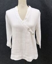 David Dart Collection Size M L 100% Linen White V Neck Top Tunic Button Wrap Frt