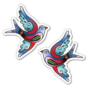 2 x Blue Swallow Bird Sticker Tattoo Art Sailor  #6965LS