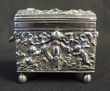Antique Sterling Solid Silver Dutch German Netherland Box Case W Cherubs c1880