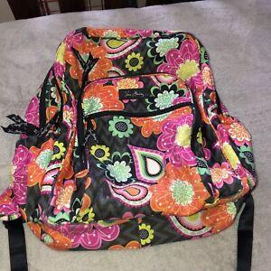 VERA BRADLEY Ziggy Zinnia Retired Pattern Large Book Computer Bag Backpack