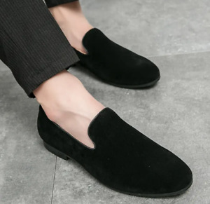 Mens Suede Boat Shoes Loafers Casual Slip-on Flat Heels Pointed Toe Fashion Plus