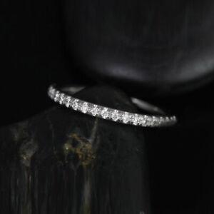 Round 14K White Gold Anniversary 0.40 Ct Moissanite Women Eternity Band Size 6