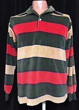 Vintage Super Soft Velour Striped Shirt sz LG Classic Hippie 70's