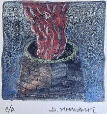 "Dimitris C. Milionis ""RED SMOKE"" Signed Limited Edition Giclee Print Greek 2007"