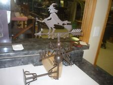 CAST IRON TOP  WITCH WEATHER VANE  WALL FENCE MOUNT GARDEN & WICCA