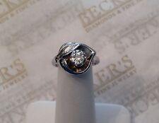 Antique Deco 14k wg Old European Diamond Flower &  Etched Leaf Ring .35 ct K-SI1