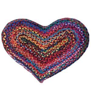 HEART RAG RUG DOORMAT FAIR TRADE MULTI-COLOURED recycled fabric jute Indian NEW!