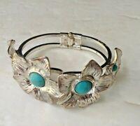 Big Vintage CLAMPER Bracelet w/ Faux Turquoise Stones  Beautiful circa 1960's