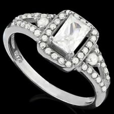 DIAMOND ENGAGEMENT RING SILVER WHITE GOLD LOOK GENUINE   F- IF 5.10 CWT ART DEC