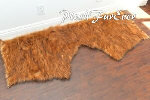 Red Grizzly Big Bear Head Bed Rug 2' x 5' Faux Fur Area Lodge Cabin Rug Decors
