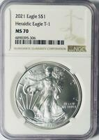 2021 American Silver Eagle - Heraldic Eagle Type 1 - NGC MS-70 Mint State 70