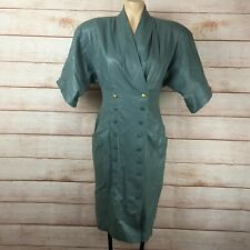 Dominic Bellissimo Gray Military Leather Button Up Dress Sz  6 Stunning Supple