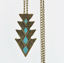 Boho Fashion Multi Triangle Charm Pendant Long Chain Sweater Necklace Jewelry