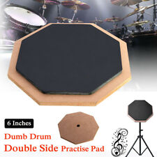 6 inch Double Side Dumb Pad Exercise Mat Blow Plate Drummer Rubber Soft Black