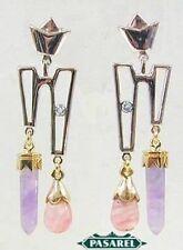 14K Gold Topaz & Fluorite Chandelier Designer Earrings