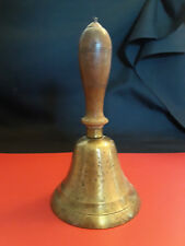 Vintage Collectible Large Brass With Wood Handle School Bell School House Bell