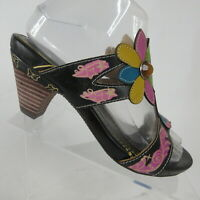 L'Artiste Spring Step Medellin Hand Painted Floral Slide Sandal Womens US 6.5-7