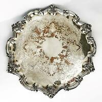 Large WILLIAM IV OLD SHEFFIELD PLATE Footed SALVER TRAY c1830 41cm / 16 Inches
