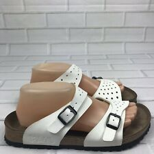 Birkenstock Birkis Freeport Perforated White Buckle Strap Sandals Size 40 L9 M7