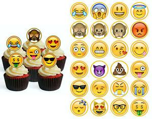 Emoji Smiley eßbar Cupcake Torten-Bild-Aufleger Party Deko Geburtstag Muffin tok