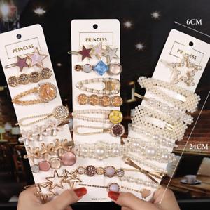 Girls Hair Clips Slide Snaps accessories women Pearl Gold leopard wedding flower