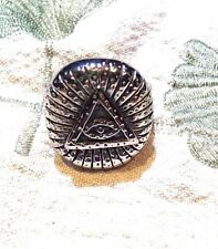 Large Silver Stainless Steel Illuminati Eye Crest Size 11 Men's Ring
