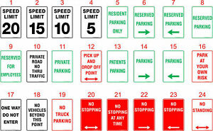 Parking Safety Signs, Stickers / Corflute / Metal.  OHS work Signage