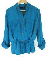 White House Black Market WHBM Button Up Shirt Tunic Teal Blue Blouse size 14