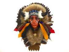 Native American Indian Head Wall Art Plaque Mask With Horns Real Feathers.....