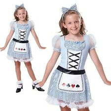 Girls Alice Costume Kids Tea Party Card Girl Fancy Dress Outfit Childs Book Day