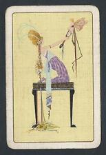 #300.092 vintage swap card -FAIR- Art Deco lady with Fairy on mirror