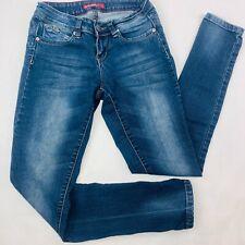 YMI Womens Jeans 3 Blue Skinny WannaBettaButt Stretch Dark Wash Whiskers Faded