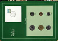 Coin Sets of All Nations Canada $1 1990 25,10,5,1 cent 1988 50 cents 1989 UNC