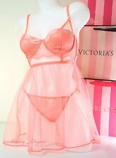 VS Victoria's Secret Lingerie Bustier 34B Lined Fly-away Babydoll Set S V-String