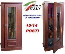 Armadietto contenitore blindato box legno vetro porta fucili 10/14 posti caccia