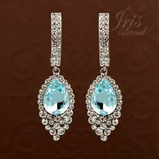 Rhodium Plated Aqua Blue Crystal Rhinestone Chandelier Drop Dangle Earrings 0887